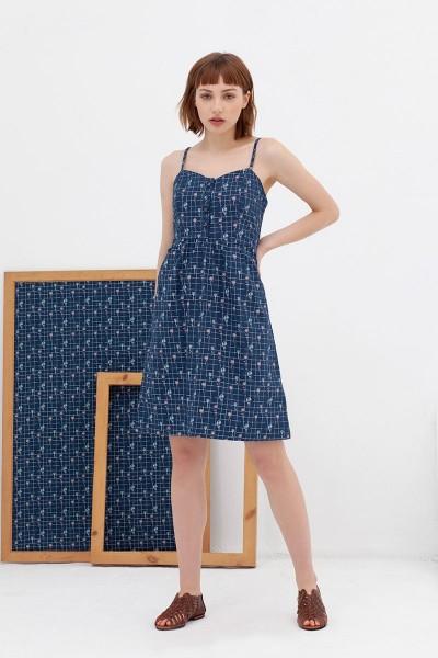 Vestido tapeta azul vintage Ainara