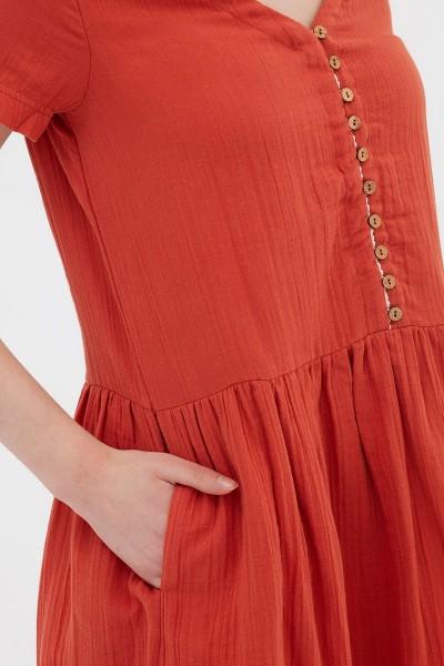 Vestido botones teja Anne