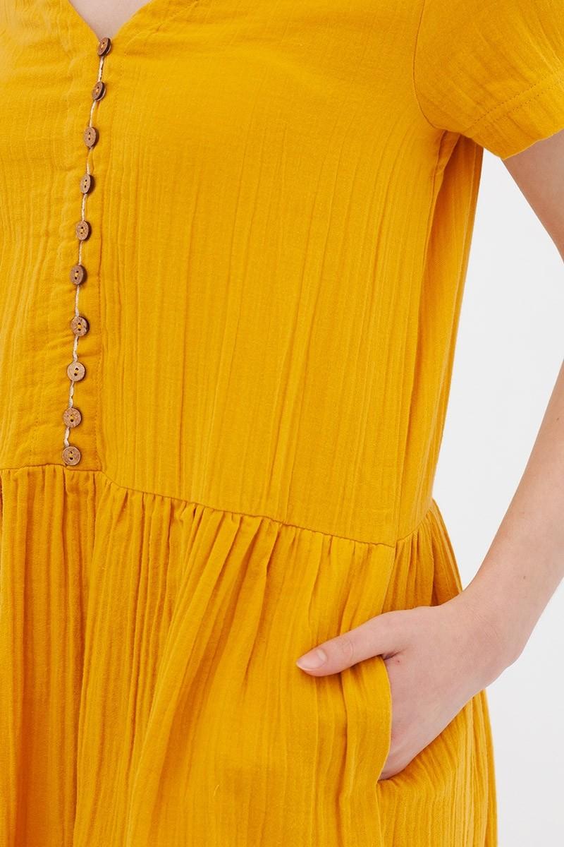 Vestido botones mostaza Anne