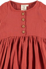Vestido muselina teja