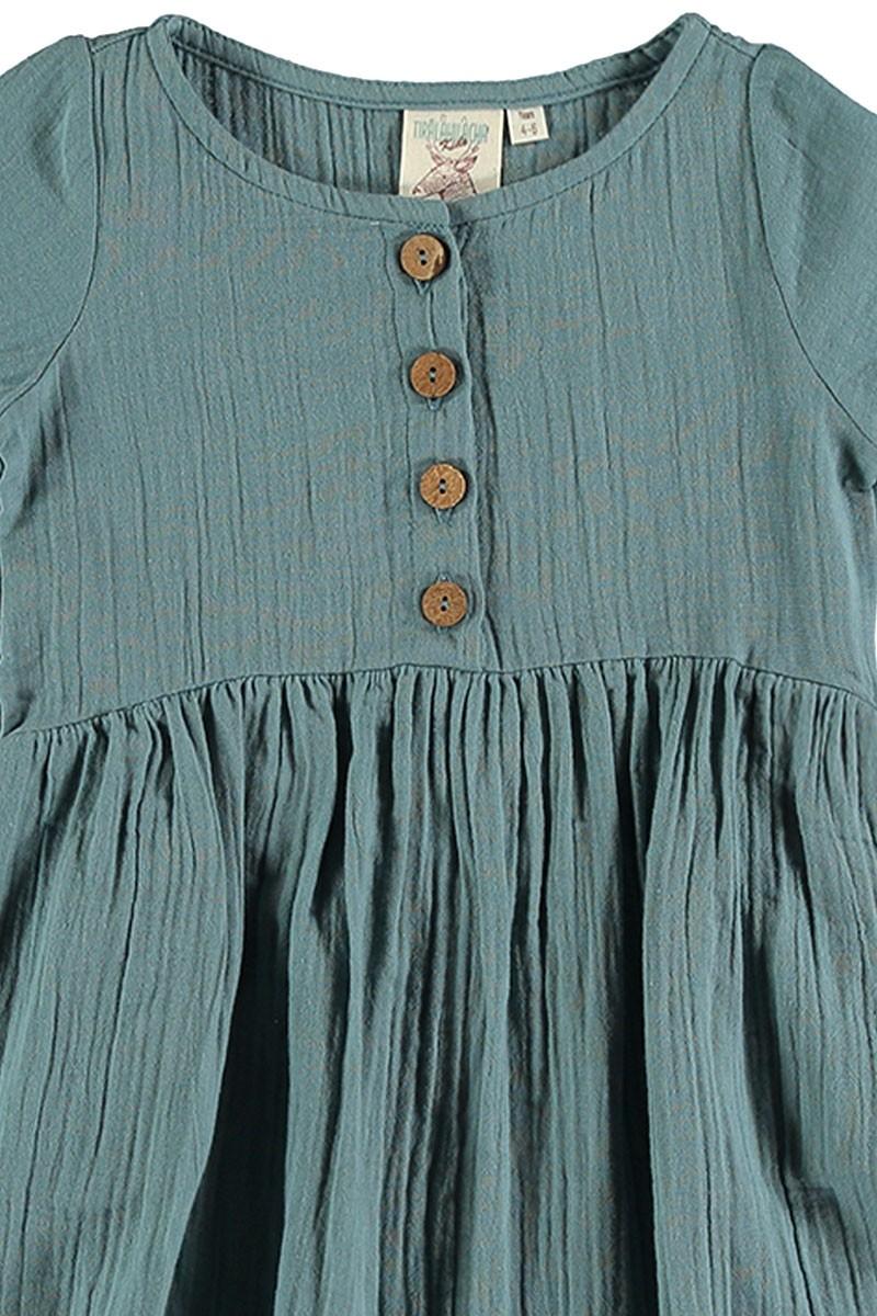 Vestido muselina azul vintage