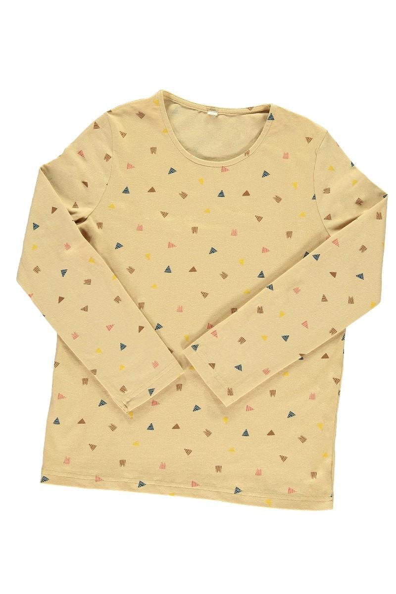 Camiseta unisex beige estampado triángulos