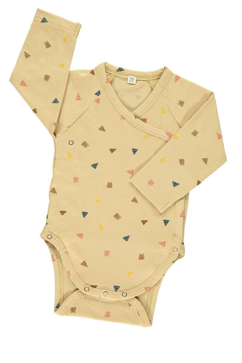 Body kimono beige estampado triángulos