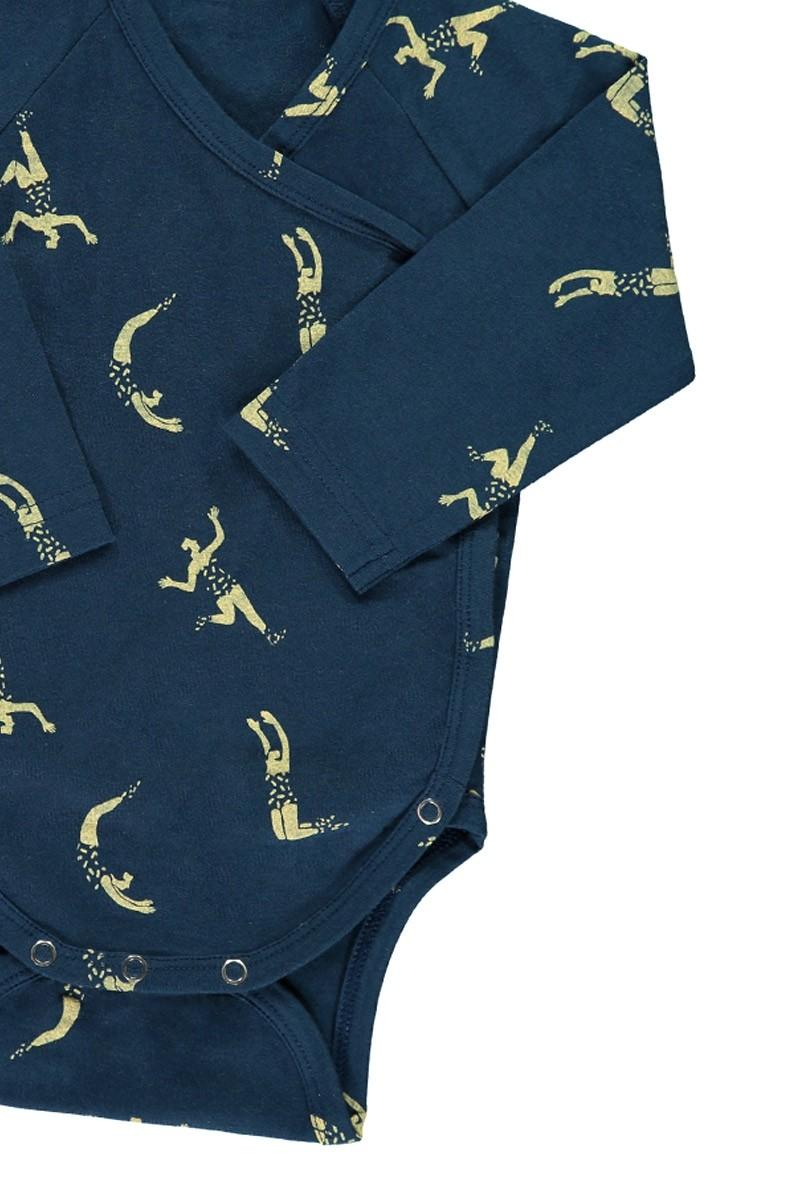 Body kimono azul marino estampado acróbatas