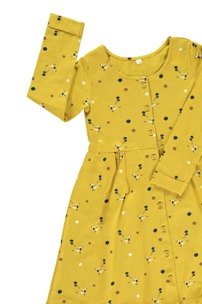 Vestido botones mostaza estampado trapecistas