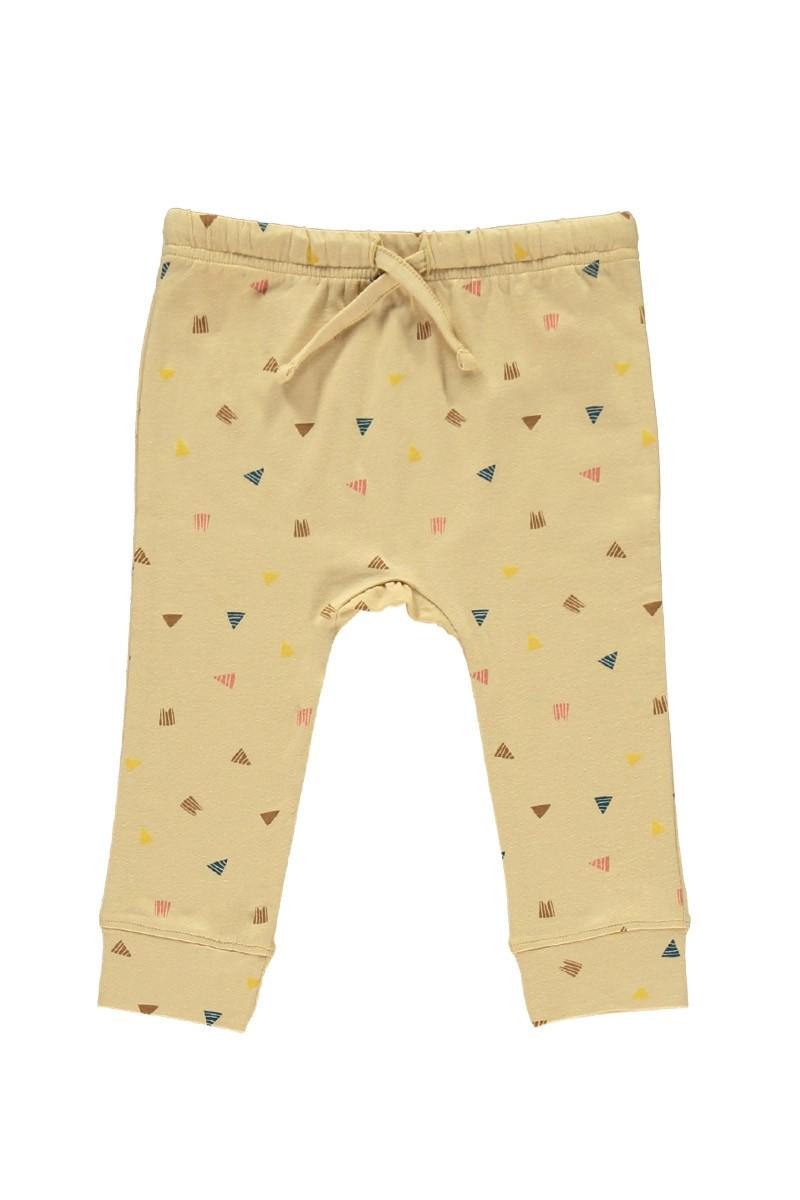 Pantalón bebé beige estampado triángulos