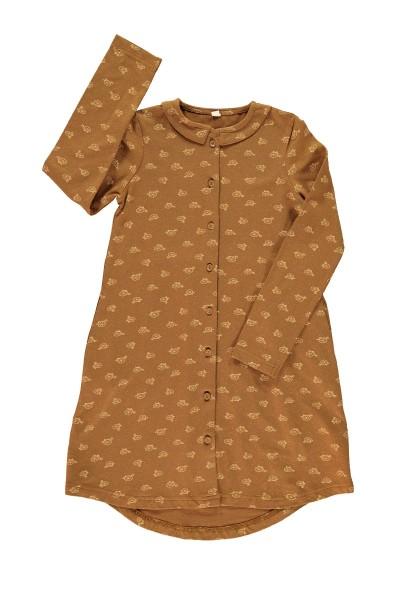 Vestido camisero marrón estampado bicicletas