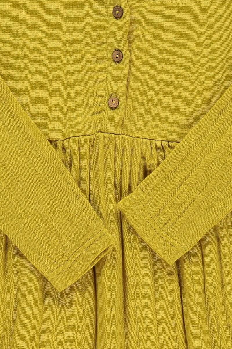 Vestido muselina basic mostaza