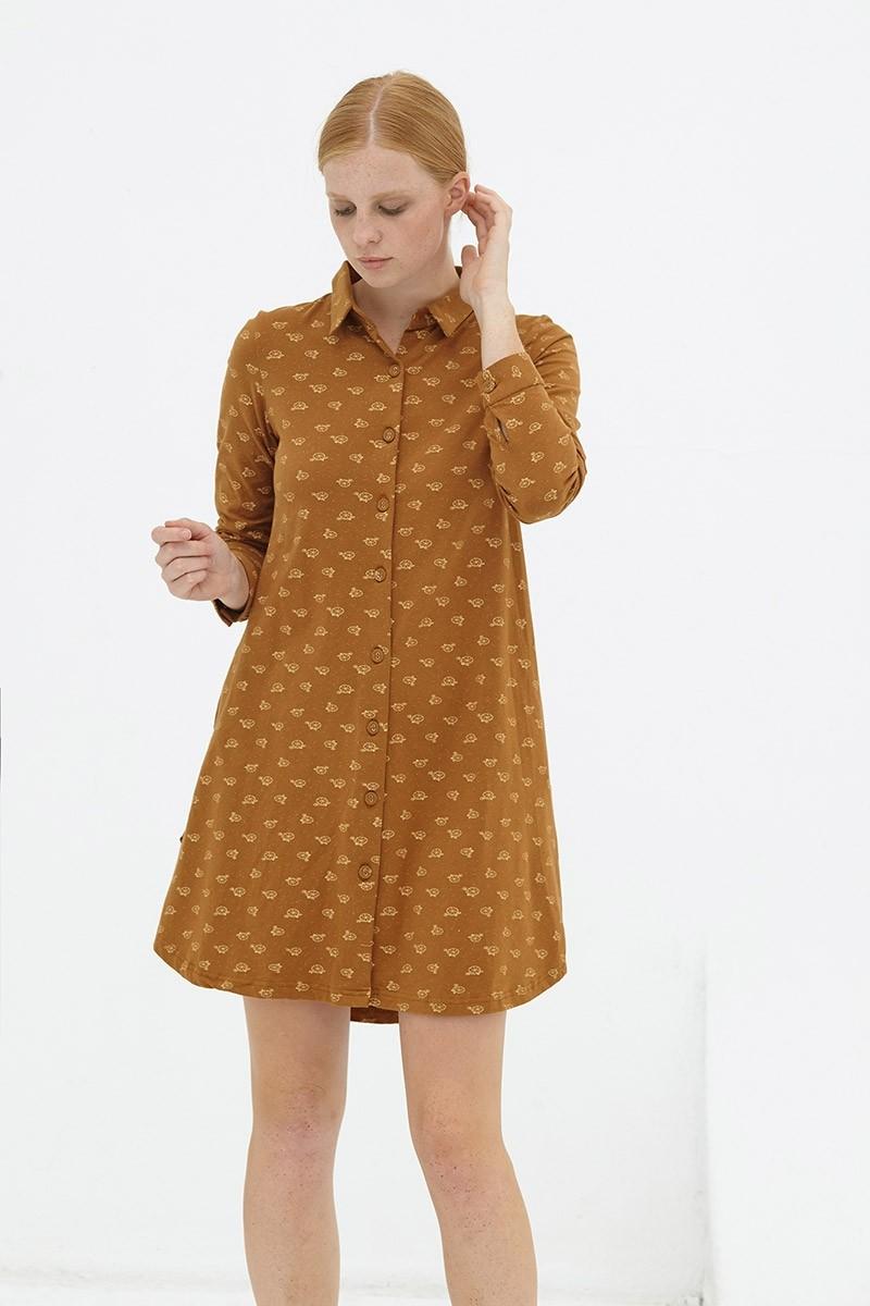 Vestido evasé camisero marrón Delphine