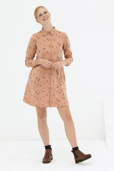 Vestido evasé camisero rosa pastel Delia