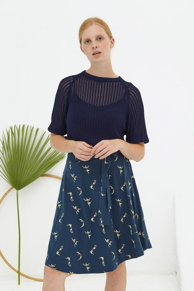 Falda media capa azul marino Delphine