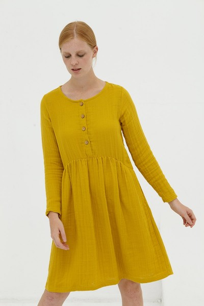 Vestido muselina mostaza Dalma