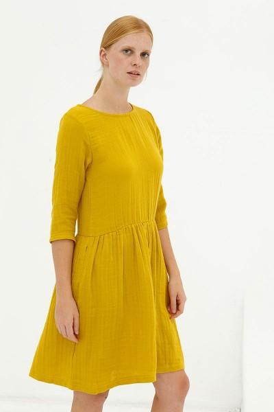 Vestido muselina reversible mostaza Dorie