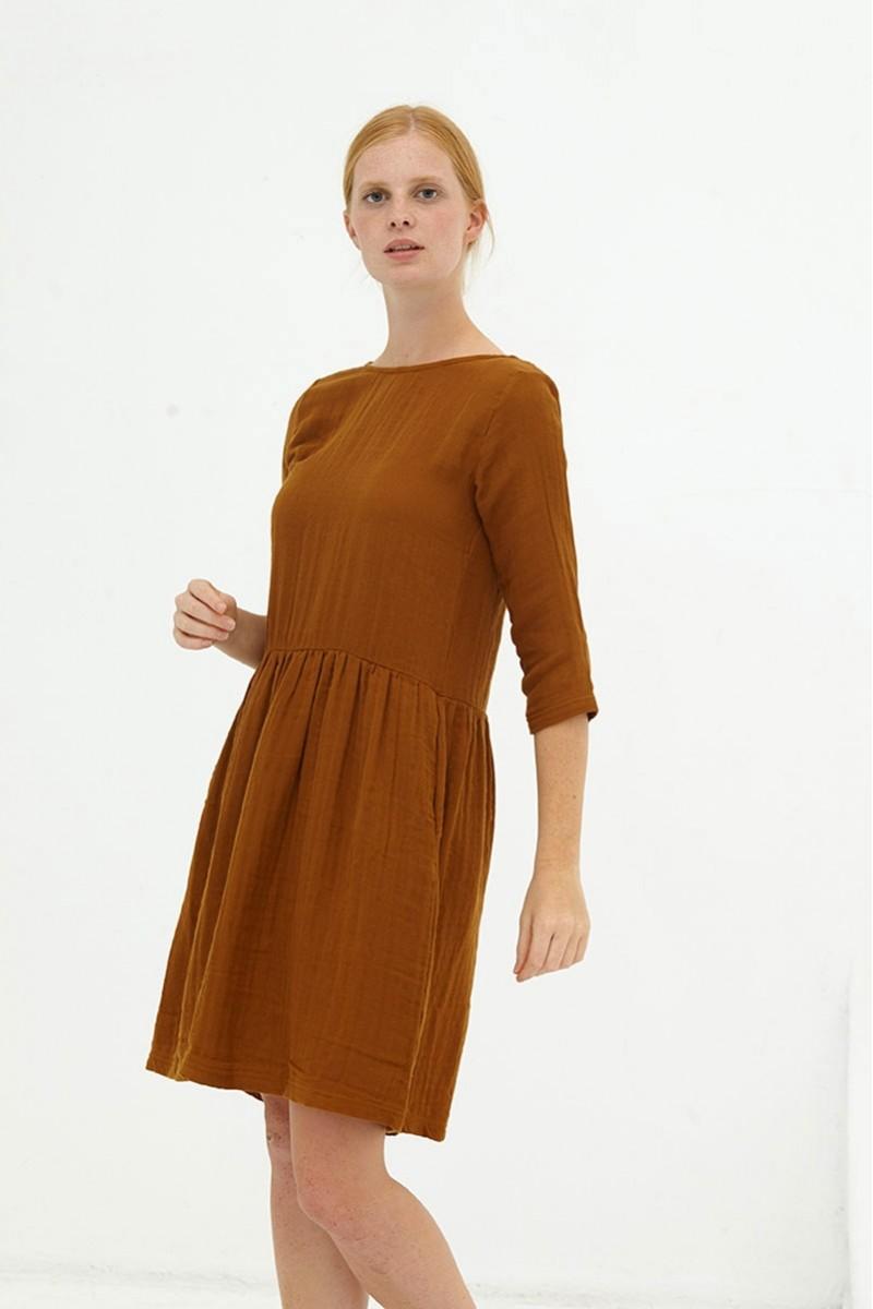 Vestido muselina reversible marrón Dorie