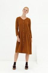 Vestido midi muselina marrón Dora
