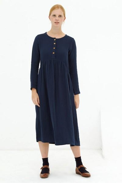 Vestido largo muselina navy Dara