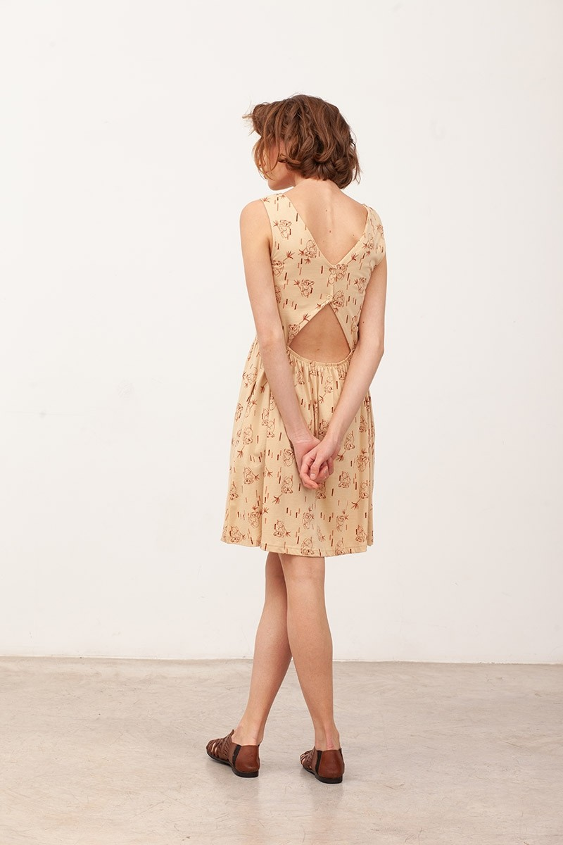 Vestido espalda abierta Belisa Beige