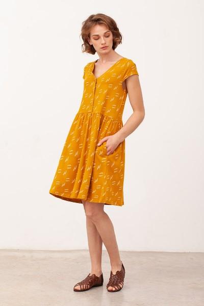 Vestido Escote lazo Belinda Mostaza