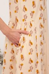 Vestido escote V Brisa Beige