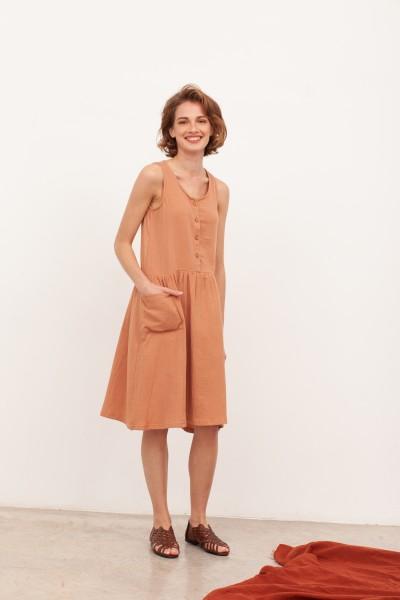 Vestido midi muselina Blossom Nude