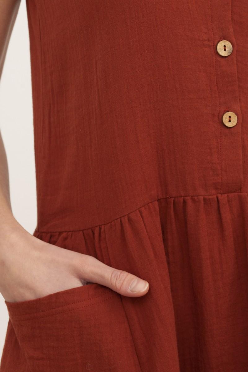 Vestido midi muselina Blossom Teja