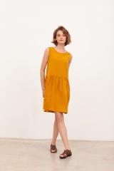 Vestido reversible muselina Brigitte Mostaza