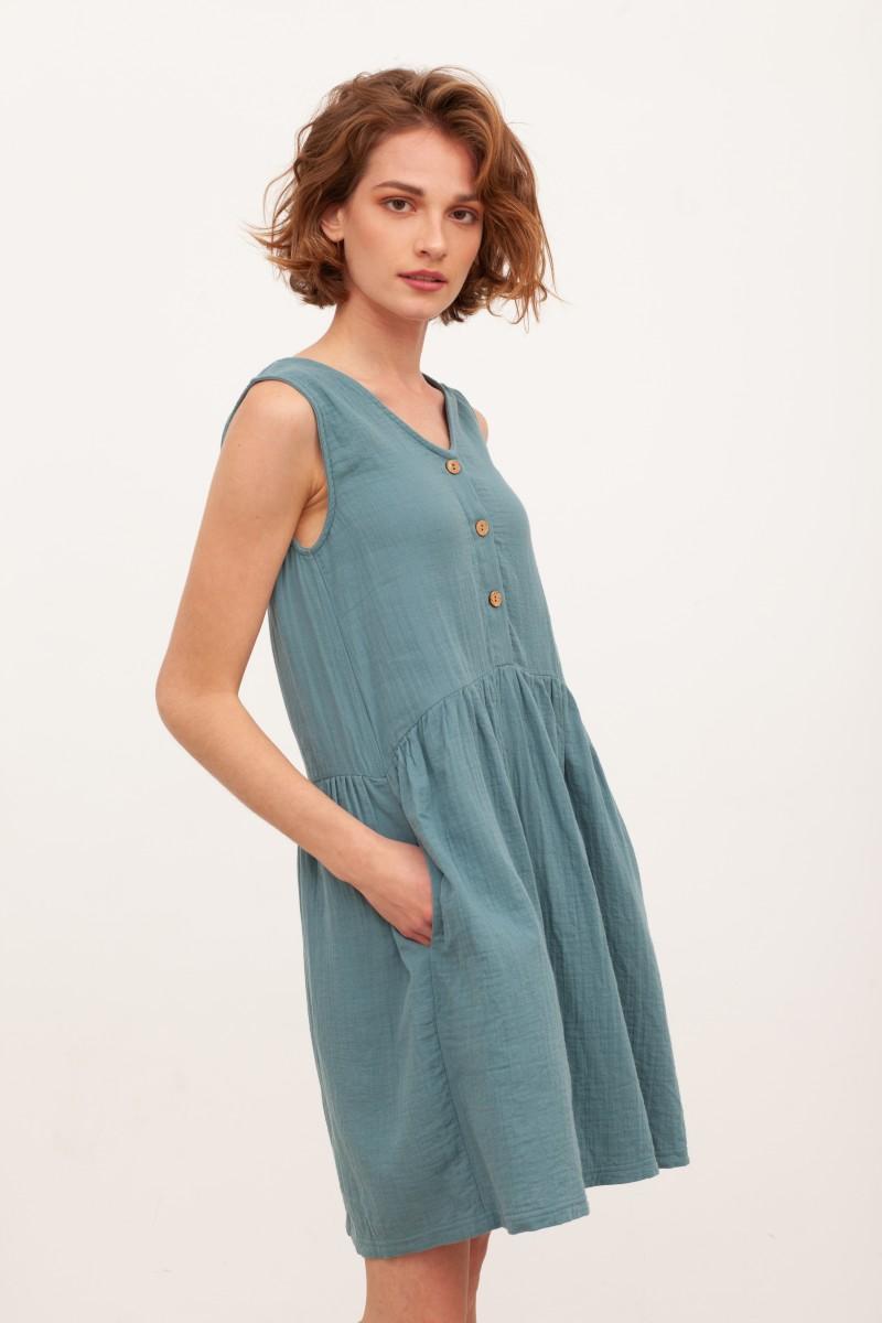 Vestido reversible muselina Brigitte Azul