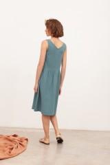 Vestido de muselina escote V Brunella Azul