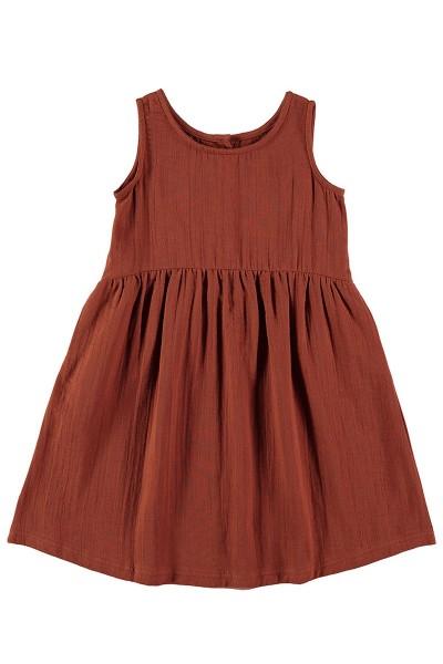 Vestido muselina reversible Teja