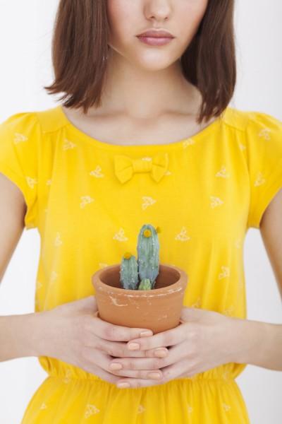 Vestido Hila manga corta amarillo